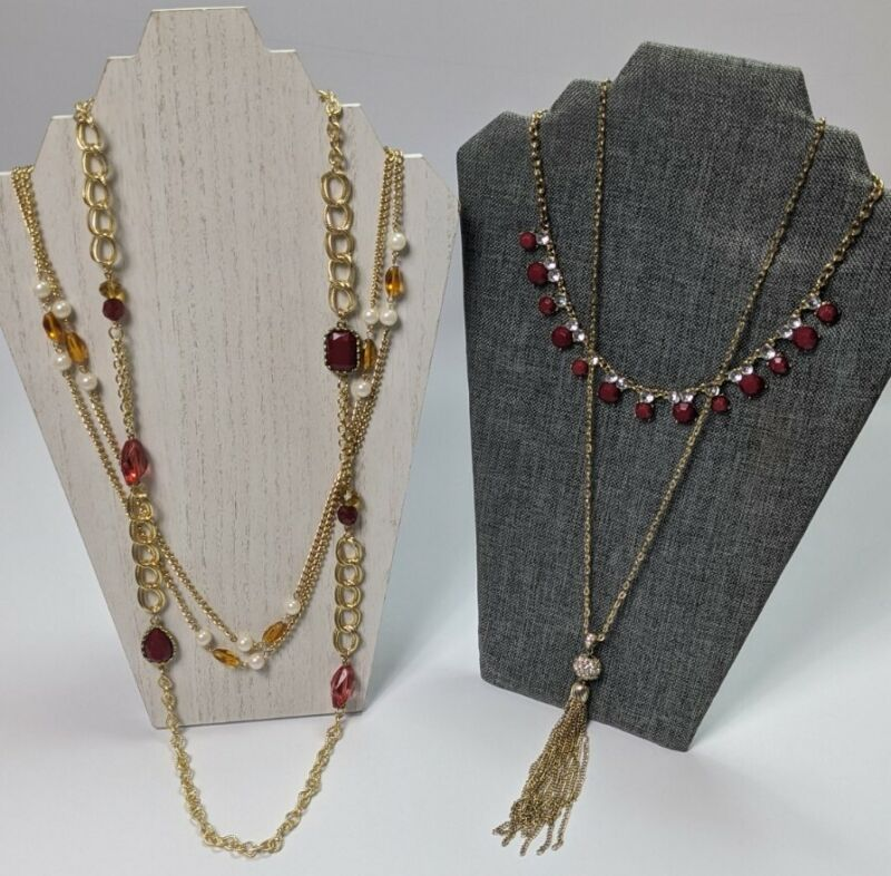 NECKLACE Lot Gold Tone Faux Pearl Acrylic Beads Rhinestone Long Layering