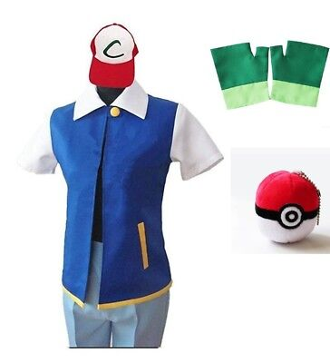Pokemon Ash Ketchum Trainer Costume Cosplay Shirt Jacket + Gloves +Hat + Ball ZG - Pokemon Ash Costume