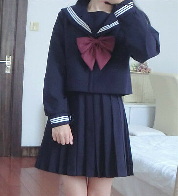 Japanese High School JK Uniform Girl Sailor Suit Coat Skirt Outfit Shirt COS    - Sailor Suit