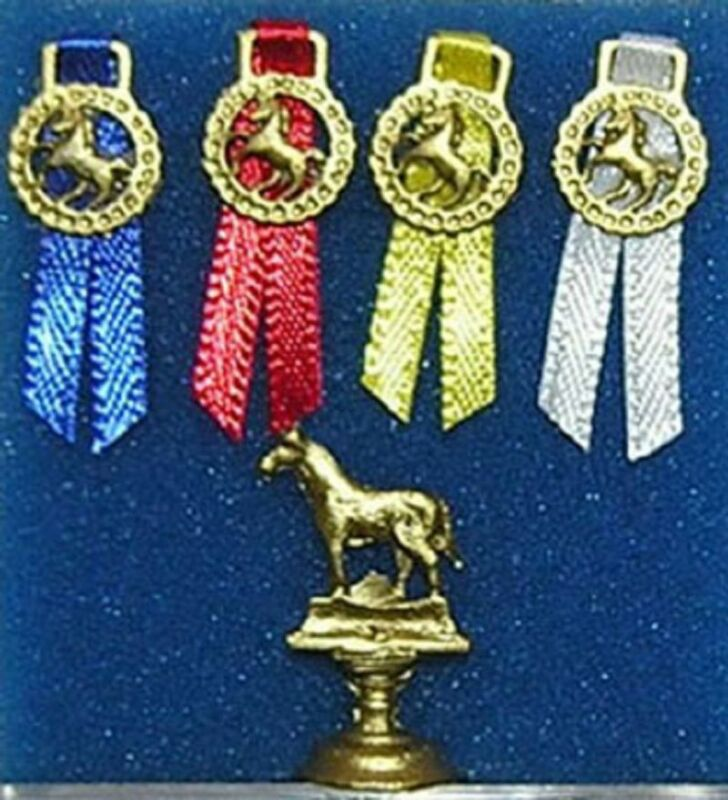 Dollhouse Miniature Equestrian Trophy Set with Ribbons