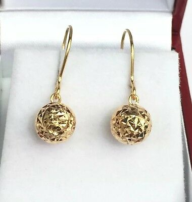 18k Solid Yellow Gold Ball Dangle Leverback Earrings, Diamond Cut 1.50Grams