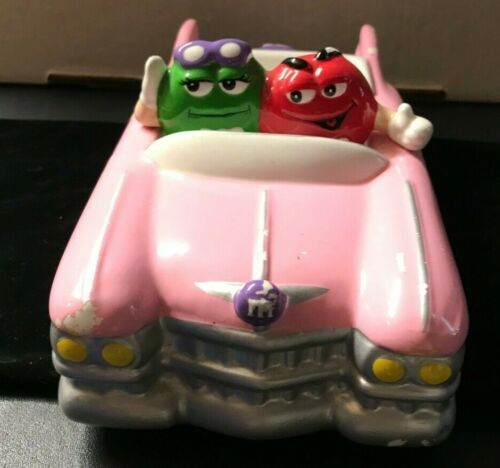 Ceramic Pink Convertible Car Candy Dish Red and Green Mars M&M Galerie 2002