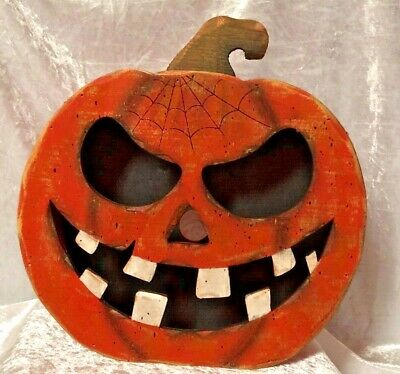 Halloween Pumpkin Face With Cut Out In Back for Light-