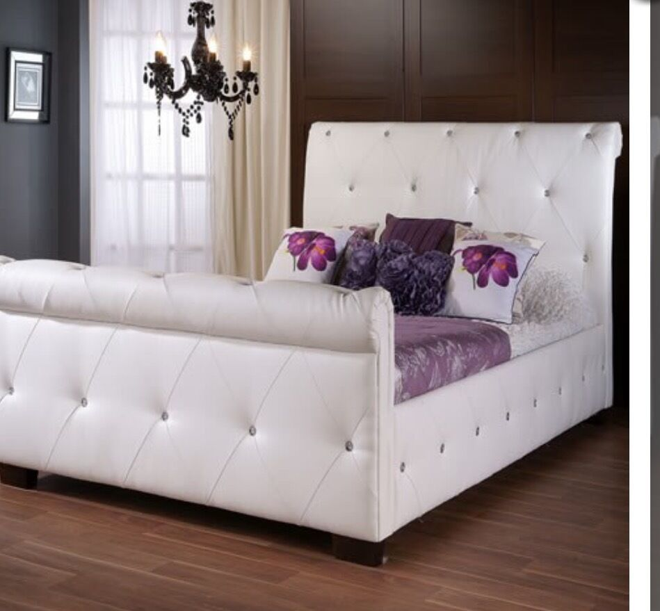 Lovely Faux Leather White Diamante Double Bed In