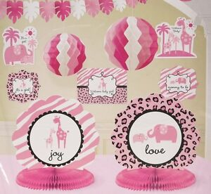 Baby Shower Decorations For Girl Kit Safari Idea Zebra Print Elephant Pink Party