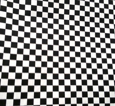 Black and White Small Checkered Fabric Poly cotton 60