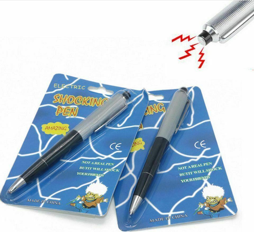 2X Shocking Electric Pen Prank Shock Trick Novelty Metal Joke Gag Toy Gift Funny Greeting Cards & Party Supply