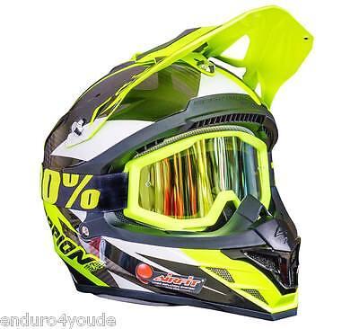 100% Strata MX Brille GOLD verspiegelt Motocross Strata Neongelb Mirrored