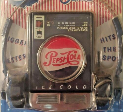 NEW IN PACKAGE Vintage Pepsi Cola AM/FM Cassette Player w Headset Headphones O1