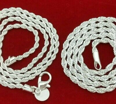 .925 Sterling Silver Diamond Cut French Rope Chain Choker Necklace -