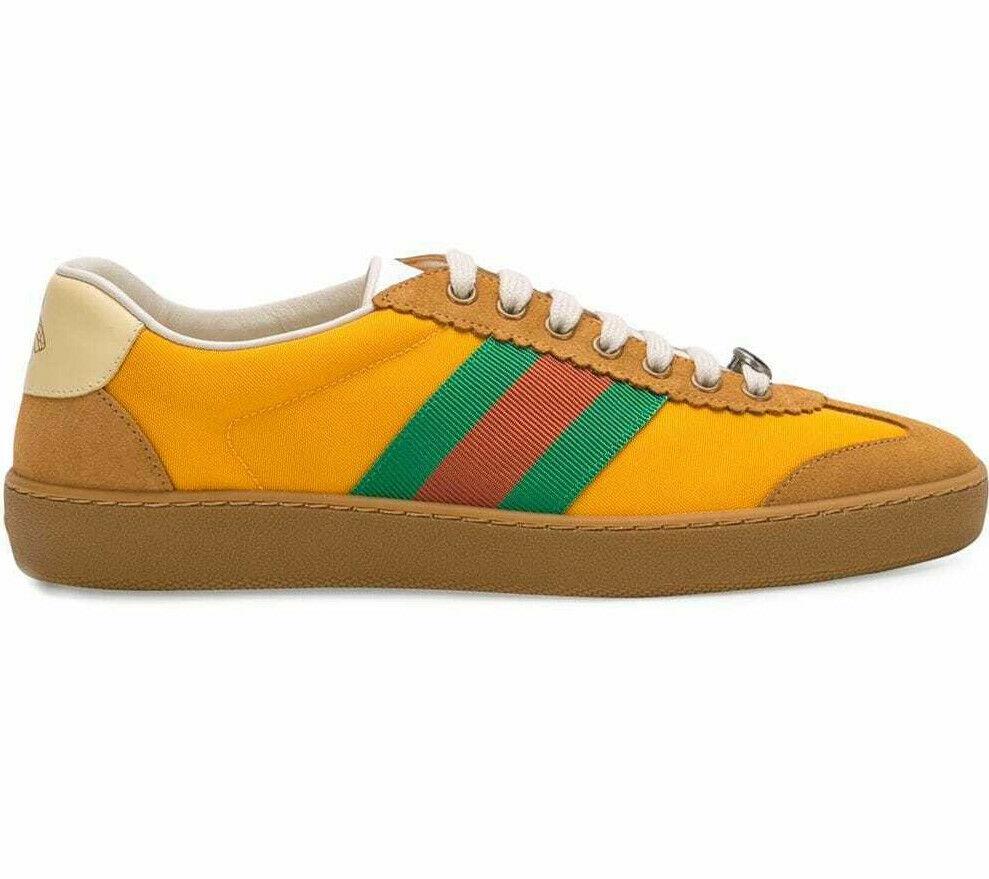 Gucci Men's G74 Web Stripe US 14 M / 13 G Mustard Nylon Sneakers Shoes $650.00