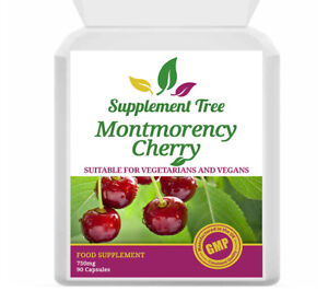 Montmorency Cherry 750mg (90 Capsules) High Active Strength Muscle, Gout, Joint