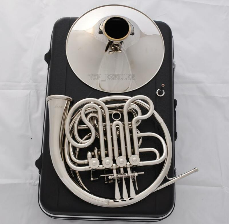 Professional Silver Nickel Plated Double French Horn F/Bb Key New With Case