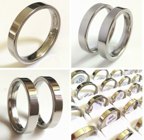50pcs 4mm Band Ring Silver Stainless Steel Wedding Rings Elegant Jewelry