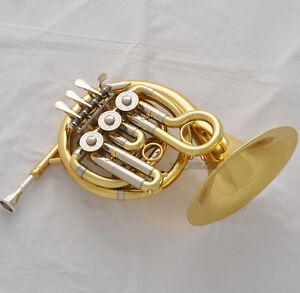 Top-Gold-Piccolo-Bb-MiNi-French-Horn-Engraving-Bell-Pocket-horn-With    Piccolo French Horn Ebay