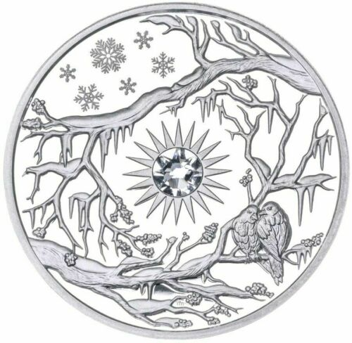 2017 Niue $5 WINTER Birds & Snow 2 Oz PROOF Silver Coin.