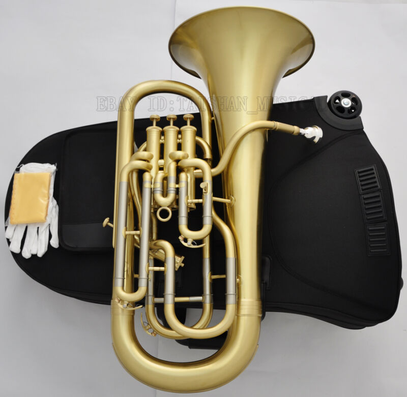 Professional Brushed Brass Compensating System Euphonium Horn B-Flat Wheels Case