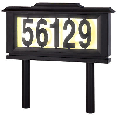 Solar Address Sign Lighted House Number Address Plaque Outdoor LED Light Sign