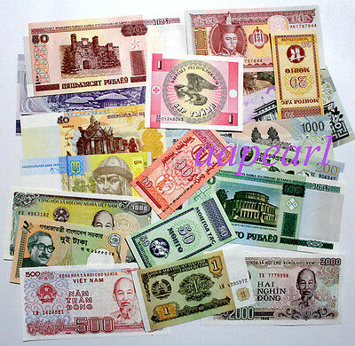 20 Banknotes different 100% real World paper money Collections Uncirculated