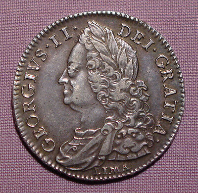 1746 KING GEORGE II HALFCROWN - LIMA - High Grade Nice Toning