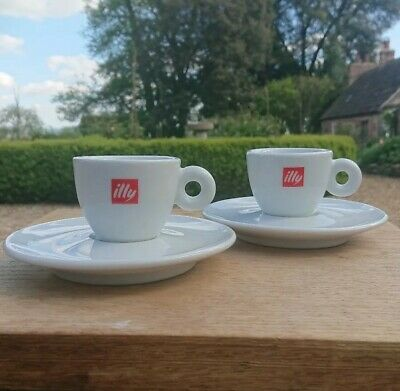 Illy Espresso Coffee Cups & Saucers (2)