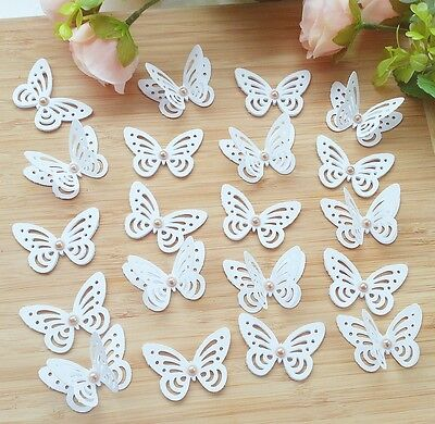 20x White Wedding Table Decorations 3D Butterfly with vintage gold - White And Gold Table Decorations