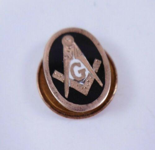 Antique Mason Masonic 10k Solid Gold Blue Enamel Compass Lapel Pin Button