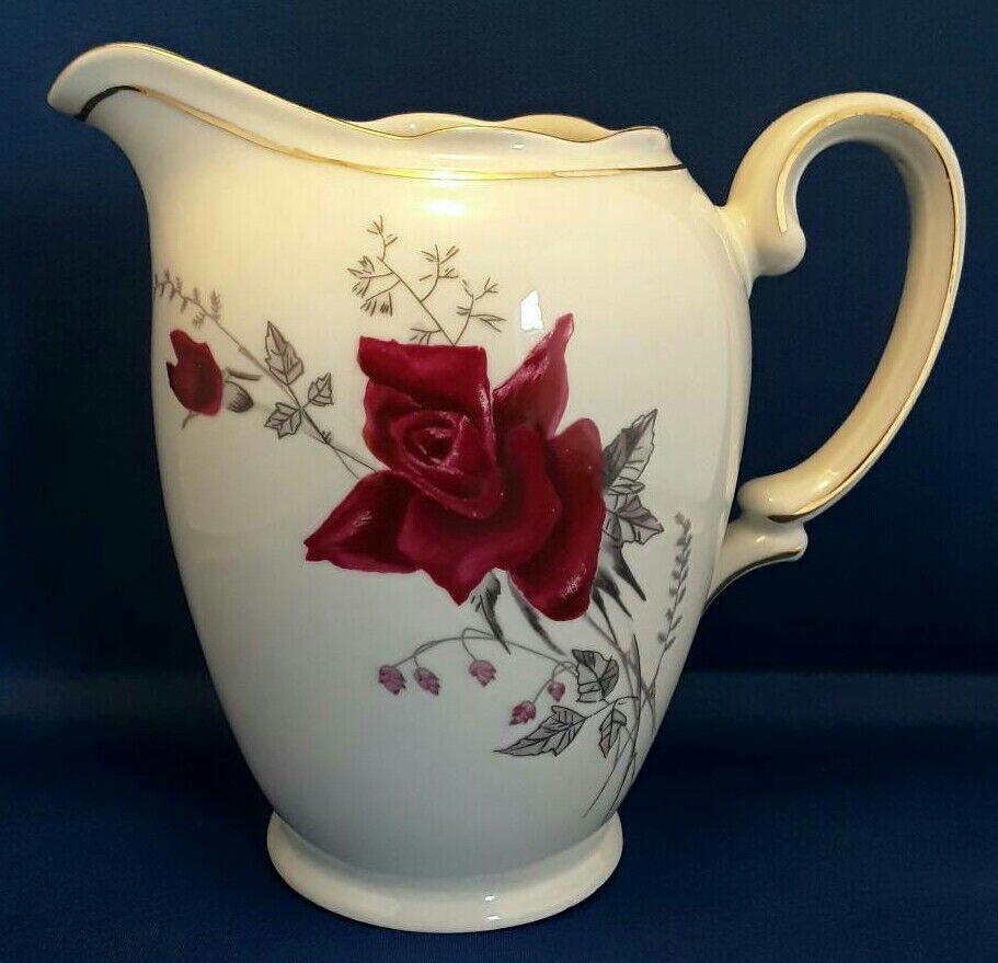 WAWEL Poland china large jug. Rose pattern with gold edging.