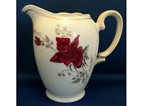 WAWEL Poland china large jug. Rose pattern with gold edging.