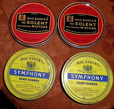 4- ESTATE DIFFERENT VINTAGE MAC BAREN COLLECTIBLE SEALED TOBACCO TINS - NICE LOT on Rummage