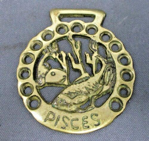 Vintage Brass Horse Harness Medallion Bridle Ornament Zodiac Pisces