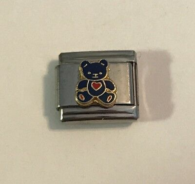 Dark Blue Teddy Bear Holding Red Heart - Italian Charm 9mm Link For Bracelet