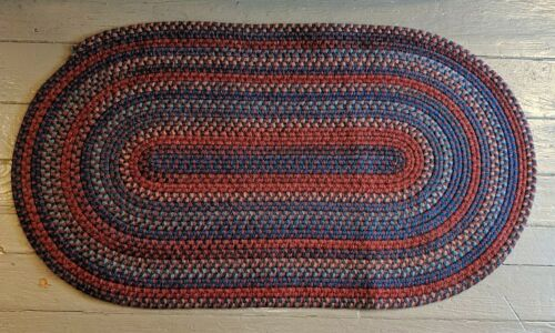 Gorgeous Vtg Folk Art Country Farmhouse Oval Wool Braided Rug 4