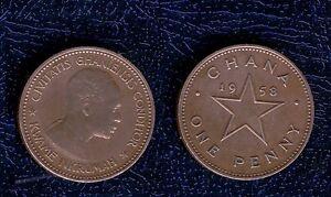 GHANA-1-PENNY-1958-cu-ni-SPL-one-penni