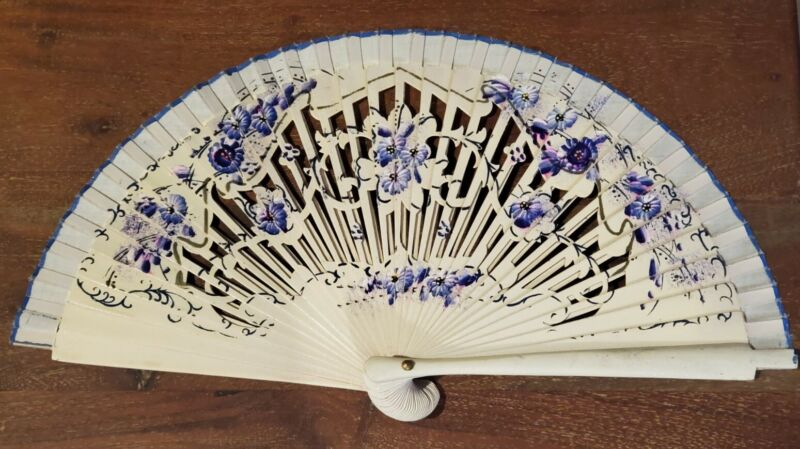 Vintage Oriental Chinese Asian Hand Painted Purple Floral Flowers Fan Decorative