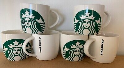 Starbucks Coffee Mug Green Siren Mermaid  White Barrel Cup 14 oz  New (2017) X 6