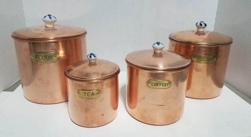 Vintage Copper Canister Set 4 W/ Porcelian Knobs & Labels Nesting