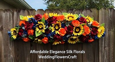 Blue Yellow Wedding Flowers - 3 ft Sunflower Arch Swag Silk Wedding Flowers Navy Blue Yellow Orange Wine Fall