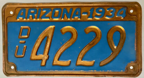 1934 ARIZONA Used Car Dealer COPPER License Plate - AZ #4229