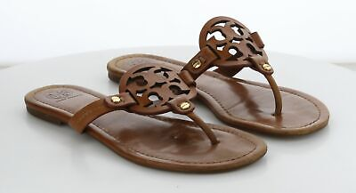 23-78 MSRP $198 Women's Size 8.5 M Tory Burch Miller Brown Leather Logo Sandal