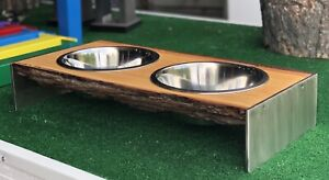 Live Edge & Stainless Steel Dog Feed Station