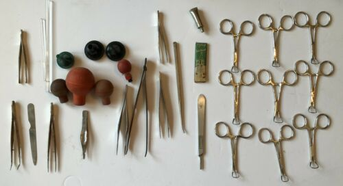 Surgical Instrument Tool Equipment Lot Forceps Tweezers Glass Rods & More VTG