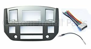 Radio Double Din Dash Install Bezel Kit Silver Slate Grey Fits 2006-09 Dodge Ram