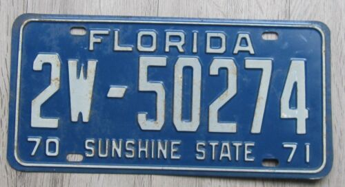 1970 1971 Florida License Plate 1970-71 Duval County Tag 2W-50274