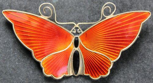 """David Andersen 2+"""" Red-Orange Butterfly Brooch - Sterling Silver - Enamel - Pin"""