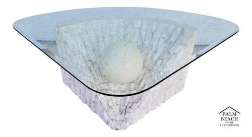 1970s Post Modern Tessellated Stone Magnussen Ponte Center Coffee Side End Table