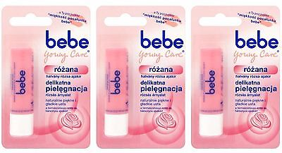 (3X BEBE Young Care Rose Roze Lip Balm Stick Free Shipping)