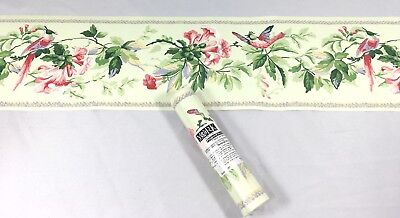 York Wallpaper Border Vine Blossom Flower Pale Green Pink Textured Bird Floral