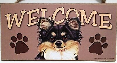 Welcome Black and Tan Long Hair Chihuahua Dog Breed Wood Sign/Wall Plaque