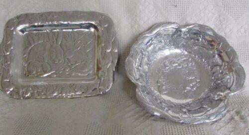 Metal Platter & Bowl With Rabbit Designs